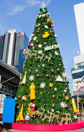The decorative Christmas tree in the city photo