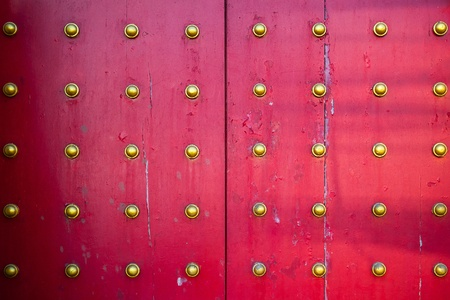 Pattern of big Chinese temple doors photo