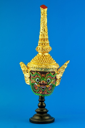 The mask worn by actors in marked performance  It is a Thai design mask  photo
