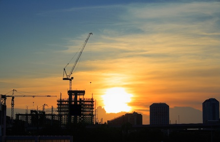 Beautiful landscape view of construction site in the evening