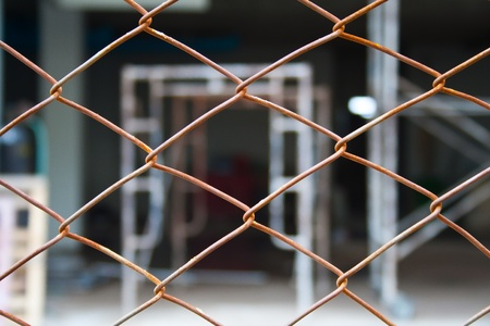 Construction site behind the fence Stock Photo