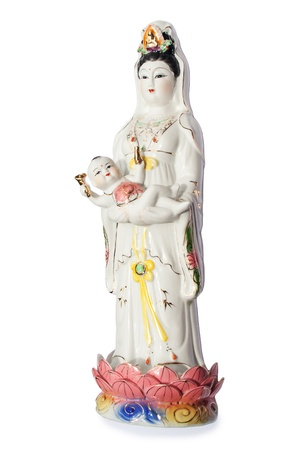 The Guan Yin Buddha Statue postures of giving alms child
