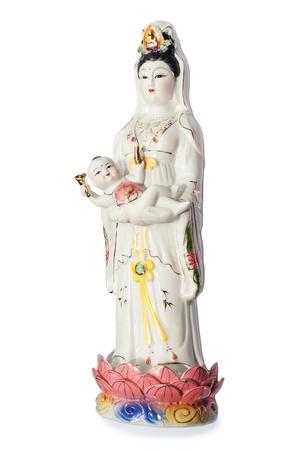 limosna: Las posturas de Buda Guan Yin Estatua de la limosna infantil