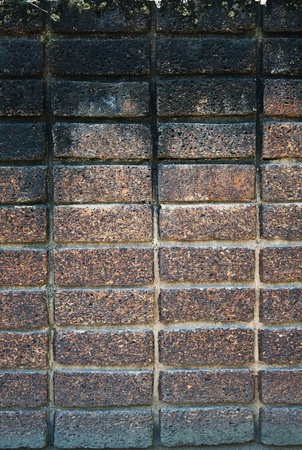 The texture of dark brown laterite stone wall photo