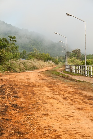 The Thai countryside view of the road in the morning photo
