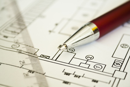 Conceptual image of drawing, ruler and pen Stock Photo - 13580099
