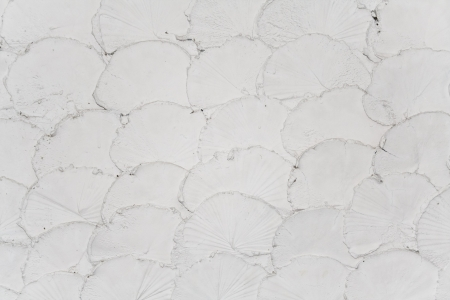 resembling: The decorative pattern resembling fish-scale of white concrete wall