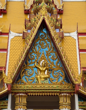 Decorative pattern for front-door of Thai temple photo