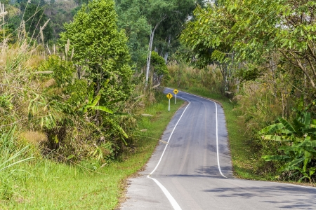 Landscape view of countryside road in Thailand photo