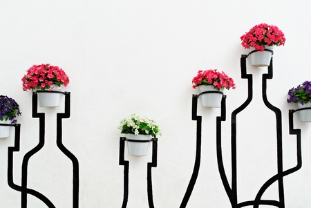 Flowers decorated on wall photo