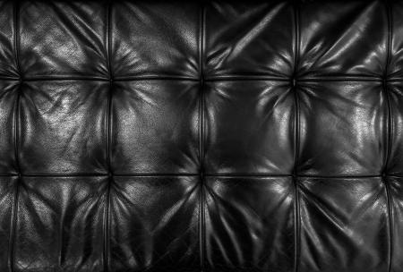 cuero vaca: Cojín de cuero negro Foto de archivo