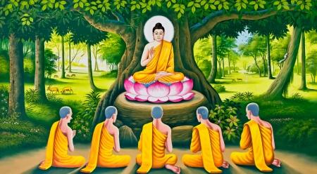 moine: L'image du Bouddha de l'enseignement sur le mur de temple tha�landais