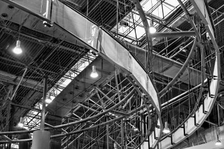 steelwork: A complexity structure in factory building Stock Photo