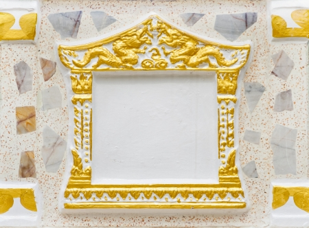 Concrete picture frame using in Thai temple photo