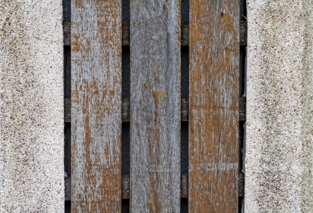 Old wooden and pebble wall photo