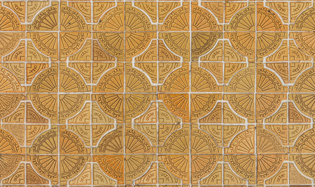 Circle tiles pattern on footpath photo