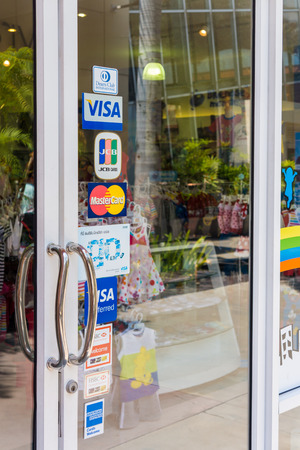 PHETCHABURI, THAILAND - MAY 29  There are many system of payment in the world  They allow the cardholder to pay for goods and services at many provinces in Thailand today