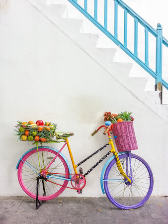 Colorful bicycle for decoration photo