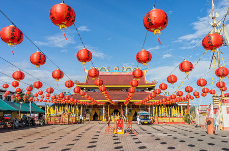 TAKUA PA, PHANG NGATHAILAND - SEP 2014:The joss house is decorated for vegetarian festival on Sep 27, 2014 in Takua Pa. This annual festival takes place from Sep 24 to Oct 2 and Oct 24 to Nov 1, 2014
