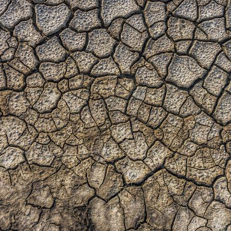 Dry cracked soil of salt evaporation pond Stock Photo