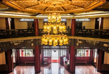 yat: A vintage electrical chandelier in Memorial Hall of former president Dr.Sun Yat-sen
