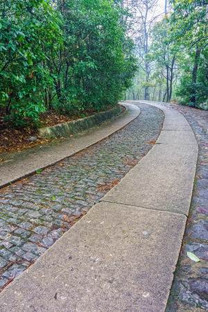 yat sen: The road way to the Memorial Hall garden of former president Dr.Sun Yat-sen on purple mountain near Nanjing City, China Stock Photo