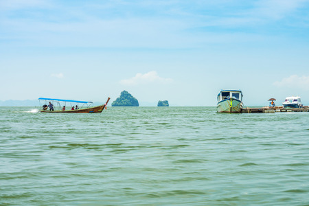 The passenger speedboats for tourist in Phang Nga bay, Southern Thailand. photo