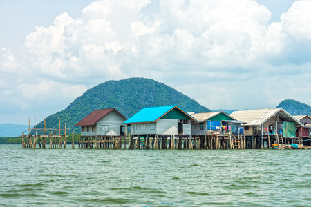 southern of thailand: The landscape view of local thai village in Phang Nga bay, Southern Thailand