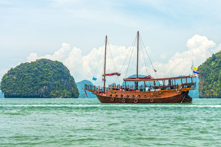 southern of thailand: A modern junk for tourism in Phang Nga bay, Southern Thailand. Stock Photo