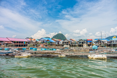 southern of thailand: Floating baskets for keeping live fish in water at local village in Phang Nga bay, Southern Thailand