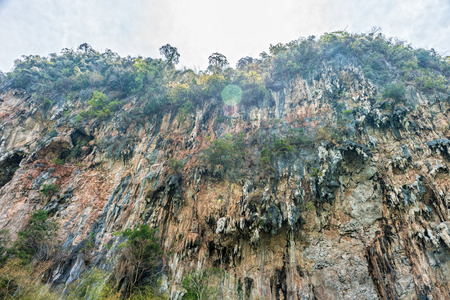southern of thailand: The cliff of limestone mountain in Phang Nga province, Southern Thailand.