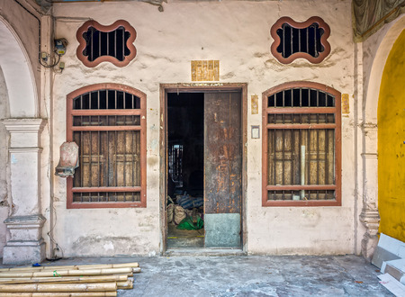 architectural style: Sino-Portuguese Architecture of ruin building in Phuket town. This old building has been constructed more than hundred years and this architectural style is European mixed with Chinese modern. Editorial