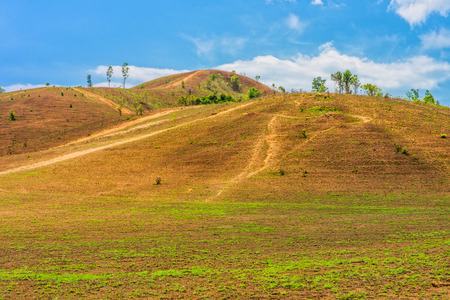 southern thailand: The landscape view of bald mountain or grass mountain in Ranong province, Southern Thailand Stock Photo