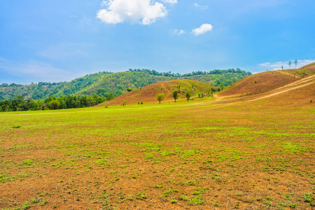 southern of thailand: The landscape view of bald mountain or grass mountain in Ranong province, Southern Thailand Stock Photo