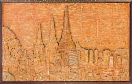 plasterwork: The art of vintage Thai pagoda figure frame made from ceramic tiles