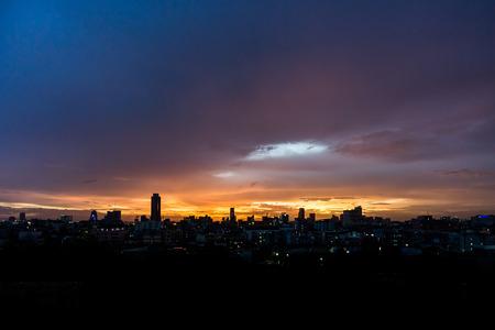 Cityscape at night of Bangkok city, Thailand photo