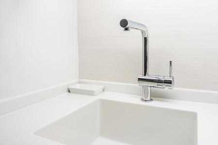 New modern white granite counter top for interior design photo