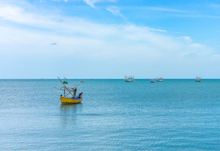 fishery: Traditional Thai fishing wooden boat for industrial fishery in Prachuap Khiri Khan bay Southern Thailand Stock Photo