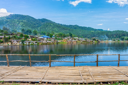 lake dwelling: Landscape view of landmark of Rak Thai village in Mae Hong Son province Northern Thailand. Local people are Chinese Yunnan. Stock Photo
