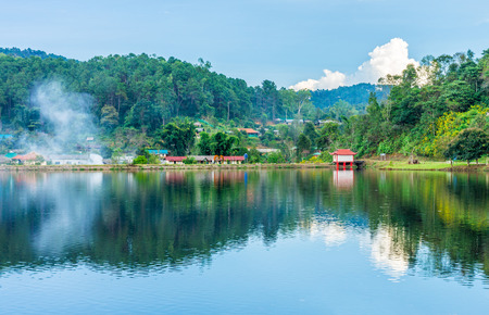 lake dwelling: Landscape panorama view of landmark of Rak Thai village in Mae Hong Son province Northern Thailand. Local people are Chinese Yunnan. Stock Photo