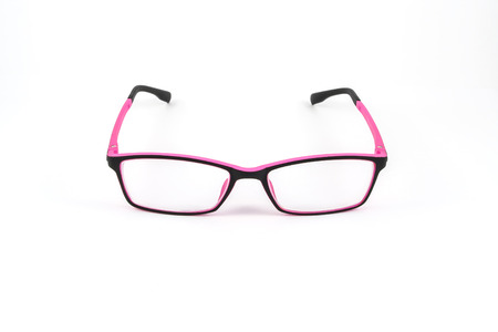eye protectors: Black and pink eye plastic glasses isolated on white background