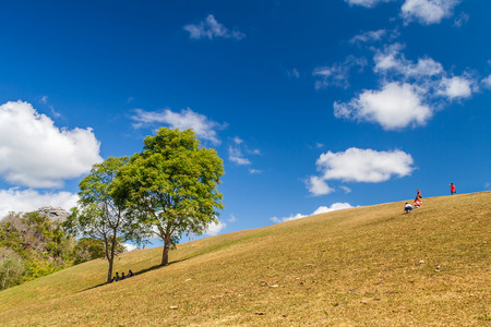 Natural landscape view of hill of Doi Samer Dow mountaintop with blue sky in Nan province the countryside of Northern Thailand Stock Photo