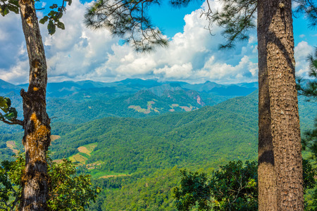 Natural landscape view of mountain range in Mae Hong Son province, Northern Thailand
