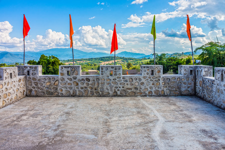 parapet wall: Top floor on vintage concrete wall in Chinese village, Mae Hong Son province, Northern Thailand