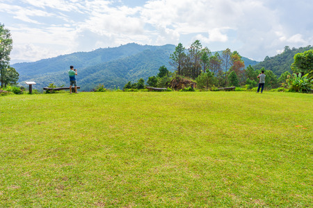 mountaintop: Area of grass lawn on mountaintop in Northern Thailand