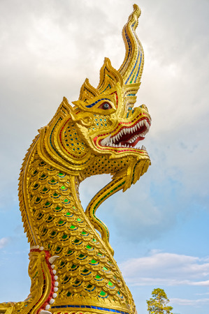 buddhist structures: The religion art of Naga head statue in Thailand Buddhist temple