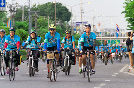 majesty: BANGKOK - AUGUST 16, 2015: Forty Thousands cyclists took part in the Bike for Mom cycling event in Thailand. This event was held in August 16, 2015 to mark the Majesty the Queens 83rd birthday.