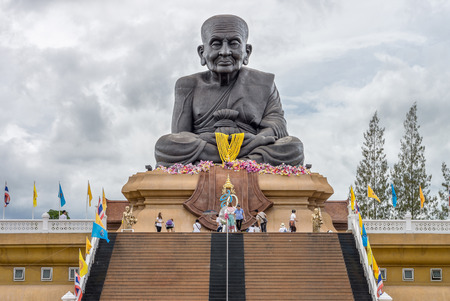 pu: Luang Pu Thuat statue at Wat Huai Mongkhon temple in Hua Hin. He is a revered Buddhist monk who lived in Siam. Stock Photo