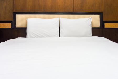 bedhead: Double bed for two adults. It is a king size. Stock Photo