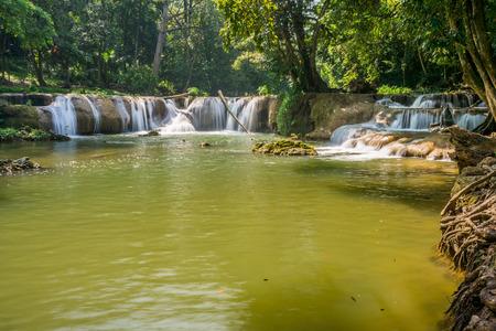 tier: Scenery view of the third tier of Namtok Chet Sao Noi waterfall. It is small waterfall in Saraburi province, Thailand. Stock Photo